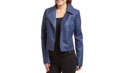 Olivia Miller Women's Moto Jacket - Blue - Size: Large