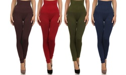 One Size Women's High-waist Compression Leggings (3-pack): Red-purple-army Green