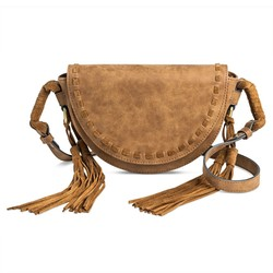 Merona Women's Crossbody Saddle Handbag - Dark Tan