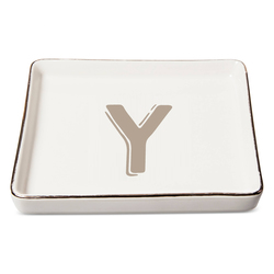 "Threshold ""Y"" Monogram Ceramic Trinket Dish - White"