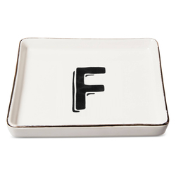 "Threshold ""F"" Printed Monogram Ceramic Trinket Dish - White"