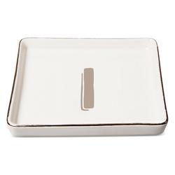 "Threshold ""I"" Monogram Ceramic Trinket Dish - White"