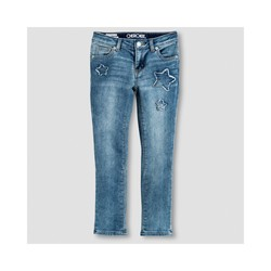 Cherokee Girl's Star Print Low Rise Jeans - Medium Blue - Size: 8