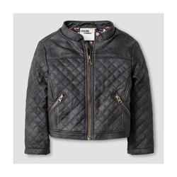 Oshkosh Girls' Quilted Moto Jacket - Gray - Size - M 7/8