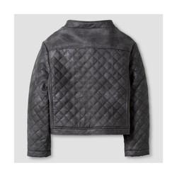 Oshkosh Girls' Quilted Moto Jacket - Gray - Size - 7/8