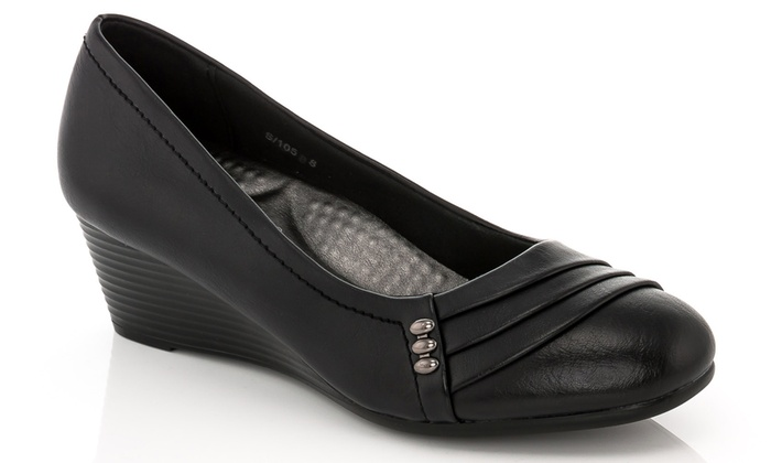 Rasolli Women s Wedge Comfort Career Shoes - Black - Size  9 - Check ... 8a6e987ef0