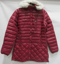 Women's Puffer Jacket with Detachable Trim - Burgundy - Size: Large