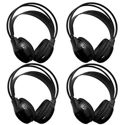 """[4 Pack] Autotain Car Headrest Audio Universal Wireless Ir """"2 Channel"""" Headphones For Kids In Car For DVD TV Monitor Infrared Folding Adjustable Headset"""