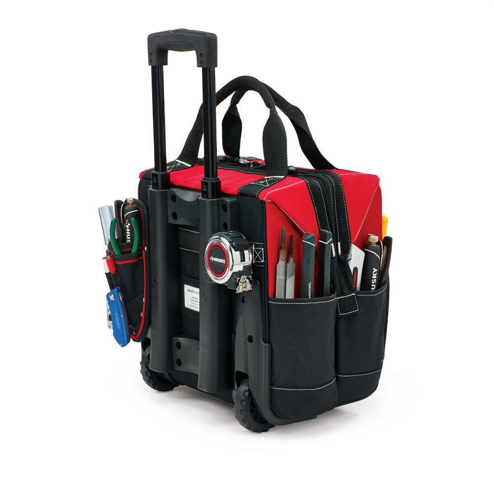 Husky 14 Inch Rolling Tool Tote Red Black