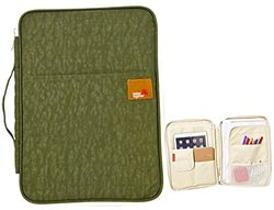 iSuperb A4 Documents Bag Multifunction Files Organizer Messenger iPad Handbag Storage for Travel Office 13.4x9.8x1.4 inch(Army Green)
