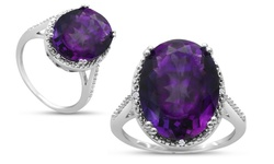 8ct Oval Shape Amethyst And Diamond Ring: Size 5.5