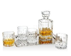 Godinger Oxford Collection 8pc Crystal Whiskey Set with Silver Plate Tray