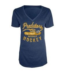 Women's NHL Nashville Predators V-Neck T-Shirt - Blue - Size: Small