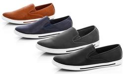 Franco Vanucci Men's Slip On Sneaker: Black/10.5
