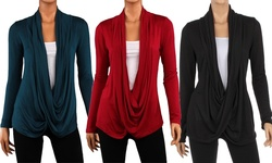 Hacci Criss Cross Cardigan 3PK - Black-Red-Teal - Size: Medium