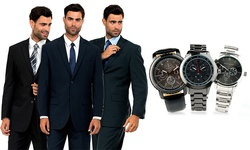 Men's Two-button Suit With Free Watch: Navy-42r/w36