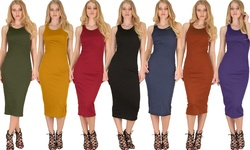 Lyss Loo Women's Bodycon Midi Dress D1201 Kelly Green - Large