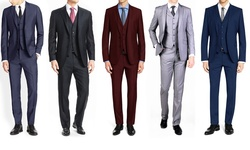 Braveman Men's 3-Piece Suit - Burgundy - Size: 36R x 30W