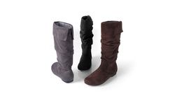 Journee Collection Women's Wide Calf Slouch Microsuede Boots- Grey-Size: 10