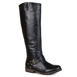 Journee Collection Women's Ankle-Strap Riding Boots - Black - Size: 10