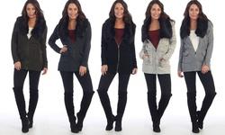 Faux Fur Waterfall Knit Jacket: Biege/medium
