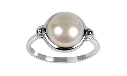 6.00 CTW Sterling Silver White Freshwater Pearl Ring - White - Size: 8
