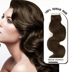 "Melodylocks 16"" Tape in Remy Human Hair Extensions 40 Pieces(pcs), 100g, Wavy #4 Medium Brown"