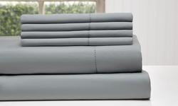 Wexley Home 6-pc 1200TC Cotton-Rich Sheet Set - Platinum - Size: Queen