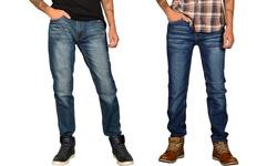 Jeans Republic Men's Soft Denim Whiskered Jeans - Blue - Size: 30x30