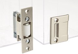 Rockwood Brass Roller Latch with Cast Strike - Clear Satin Nickel Plated