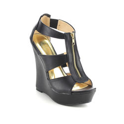 Beston Women's Peep Toe Platform Wedges Sandals - Black - Size: 10