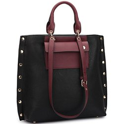 Dasein Tote With Front Pocket And Gold Snap Accents: Black/wine