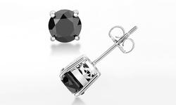 3.00 Cttw Black Diamond Stud Earrings In Solid Sterling Silver