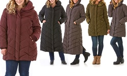 Semi Memory Hooded Chevron Quilted Coat: Black-standard/large