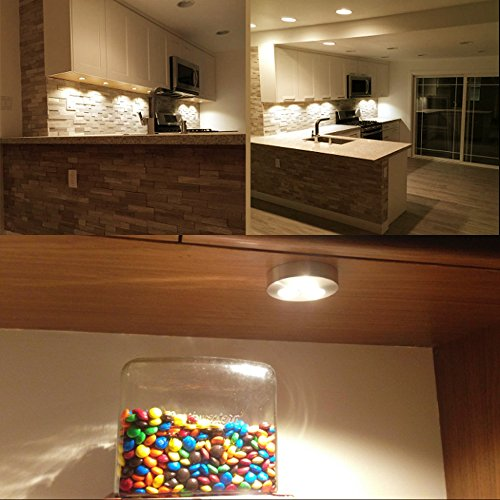 ... LE 5 Pack LED Under Cabinet Lighting, Brightest Puck Lights, 12V DC  Under Counter ...