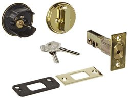 Stanley 6-Pin Bright Brass Finish Double Cylinder Auxiliary Deadbolt