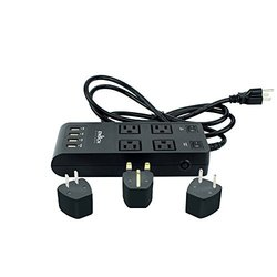 Enoch Designs 6' 4-Outlet Surge Protector Power Strip with 3 International Adaptors