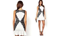 Leo Rosi Women's Carly Dress - Black/White - Size: Medium