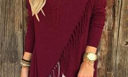 Center Link Media Women's Long Sleeve Fringe Top - Burgundy - Size: Medium