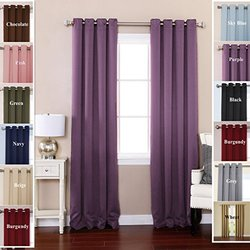 """TWOPAGES Solid Stainless Steel Nickel Grommet Polyester Drapes Purple Blackout Curtains 52"""" W x 108"""" L ( Set of 2 Panels )"""