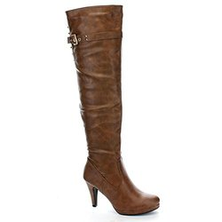 Forever Women's Kitty Heel Over The Knee High Boots - Tan - Size: 8.5