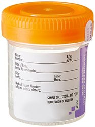 Starplex 60ml Clear Specimen Container with O-Ring Orange Cap - Case of 5