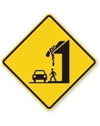 "SmartSign 18""x18"" Legend ""Falling Ice"" Aluminum Safety Sign -Black/Yellow"