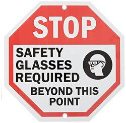"SmartSign 18"" ""Stop: Safety Glasses Required"" Sign - Black/Red on White"