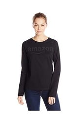 Amazon Gear Women's Long Sleeve T-Shirt w/ Tonal Logo - Black - Sz: Small