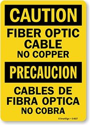 "SmartSign by Lyle ""Caution: Fiber Optic Cable No Copper"" Sign - 18""x12"""