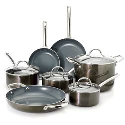 TE 11-Piece Sparkle Titanium-Infused Nonstick Cookware Set - Gunmetal Gray