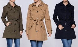 Women's Lightweight Trench Coat: Olive/medium
