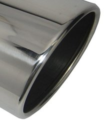 Exhaust Tip W50015-400-BOSS-RS 4.00 Inch Inlet 5.00 Inch Dia 15.00 In Long Rolled Slant Bolt On Stainless Steel Mirror Polished Wesdon Diesel Exhaust Tip