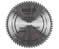 "HICO CBW1060 10"" 60-Tooth ATB Thin Kerf General Purpose Saw Blade with 5/8-Inch Arbor and Anti-Corrosive Coating"